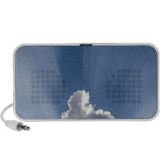 Crepuscular or God's rays streak past cloud. Speakers
