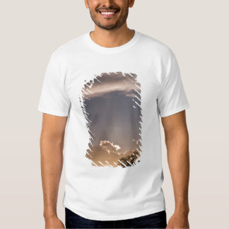 Crepuscular rays radiate across the sky at tshirts