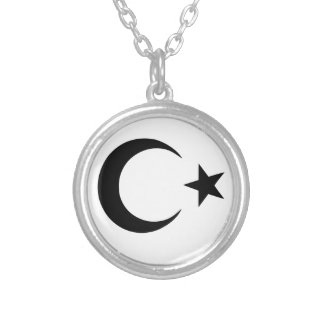 Crescent and Star Silver Plated Necklace
