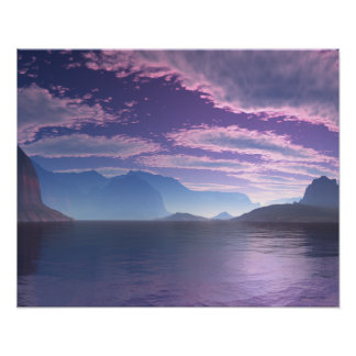 Crescent Bay Beautiful Purple and Blue Shoreline Poster