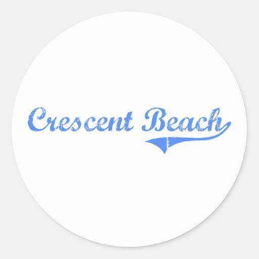 Crescent Beach California Classic Design Round Sticker
