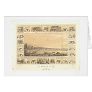 Crescent City, CA. Panoramic Map 1857 (0465A) Card