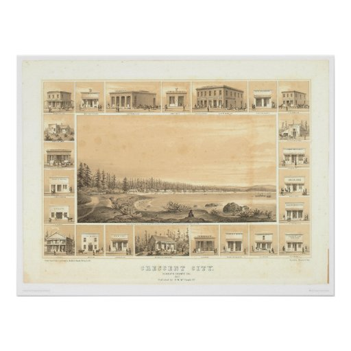Crescent City, CA. Panoramic Map 1857 (0465A) Poster