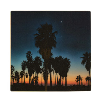 Crescent Moon And One Star On Sunset Maple Wood Coaster