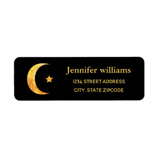 Crescent Moon And Star Address Label