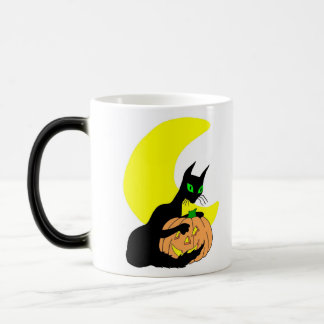 Crescent Moon Black Cat 11 Oz Magic Heat Color-Changing Coffee Mug
