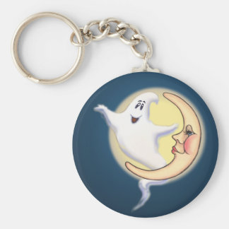 CRESCENT MOON & GHOST by SHARON SHARPE Basic Round Button Key Ring
