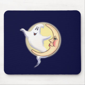 CRESCENT MOON & GHOST by SHARON SHARPE Mouse Mat