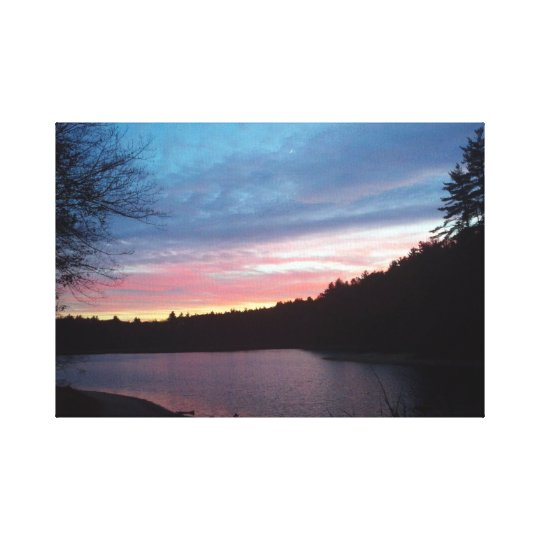Crescent Moon over Walden Pond Canvas Print