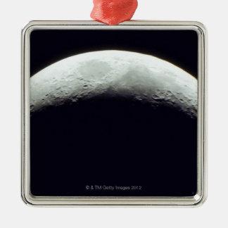 Crescent Moon Silver-Colored Square Decoration
