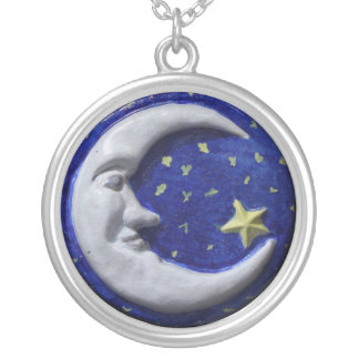 Crescent Moon Silver Plated Necklace