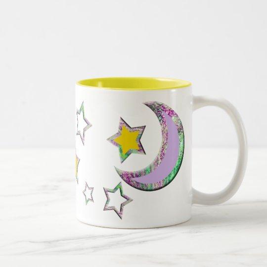 Crescent Moon & Stars #3 Two-Tone Coffee Mug