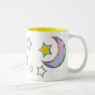 Crescent Moon & Stars #3 Two-Tone Mug
