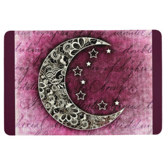 CRESCENT MOON & STARS on Shaded Maroon Texture Floor Mat