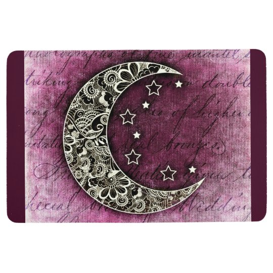 CRESCENT MOON & STARS on Shaded Maroon Texture