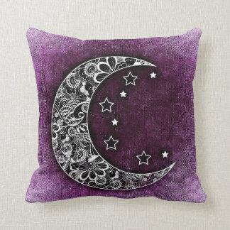 CRESCENT MOON & STARS on Shaded Purple Texture Cushion