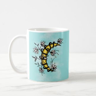 Crescent Moon Wrapped In Flowers Tattoo Style Coffee Mug