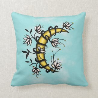 Crescent Moon Wrapped In Flowers Tattoo Style Cushion