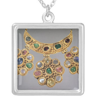 Crescent shaped necklace with pendants