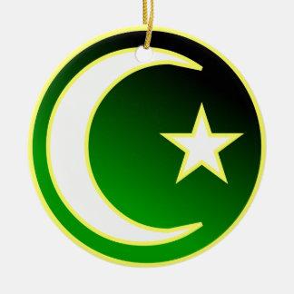 Crescent  & Star of Islam Round Ceramic Decoration