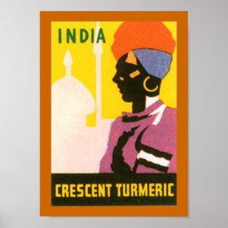 Crescent Tumeric Label (border) Poster
