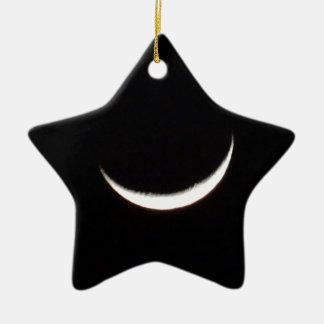 Crescent Winter Moon Ceramic Star Decoration
