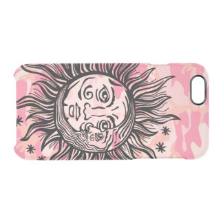 Cresent Sun and Moon Face Astronomy Girly Design Clear iPhone 6/6S Case