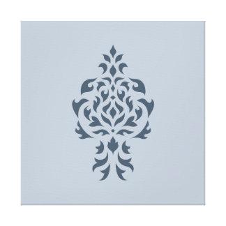 Crest Damask Design Blues I Canvas Print