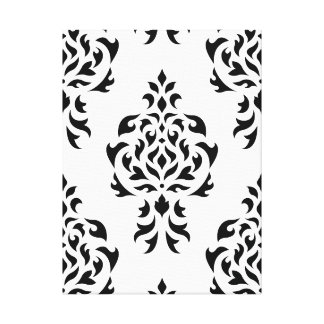 Crest Damask Pattern – Black on White Canvas Print