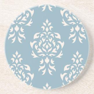 Crest Damask Pattern – Cream on Blue Coaster