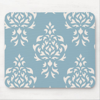 Crest Damask Pattern – Cream on Blue Mouse Pad