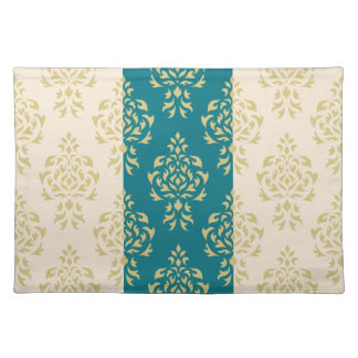 Crest Damask Pattern – Gold on Teal & Cream Placemat