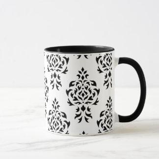 Crest Damask Repeat Pattern – Black on White Mug