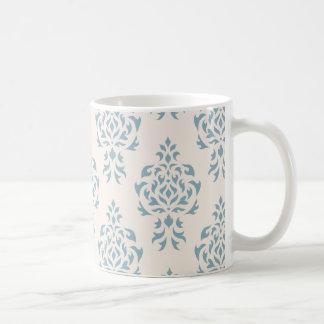 Crest Damask Repeat Pattern – Blue on Cream Coffee Mug