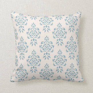 Crest Damask Repeat Pattern – Blue on Cream Throw Pillow