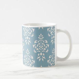 Crest Damask Repeat Pattern – Cream on Blue Coffee Mug