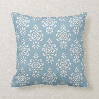 Crest Damask Repeat Pattern – Cream on Blue Throw Pillow