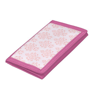 Crest Damask Repeat Pattern Pinks Tri-fold Wallet