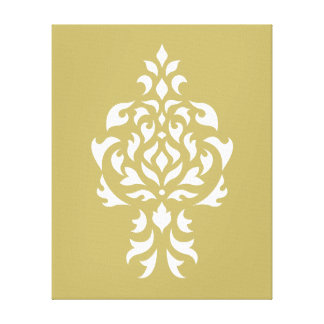 Crest Damask White on Gold Canvas Print