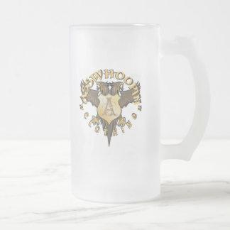 crest design glassware frosted glass mug
