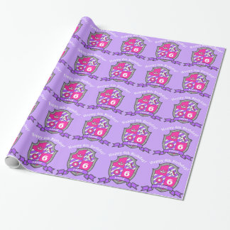 Crest girls 6th birthday purple unicorn wrap paper