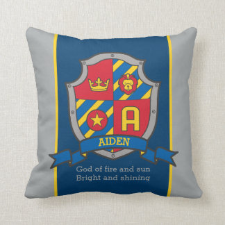 Crest name and meaning letter A Aiden boys pillow