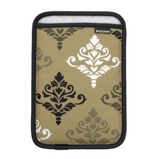 Cresta Damask Art I Black White Bronzes Gold iPad Mini Sleeve