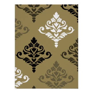 Cresta Damask Art I Black White Bronzes Gold Poster