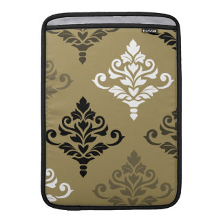 Cresta Damask Art I Black White Bronzes Gold Sleeve For MacBook Air