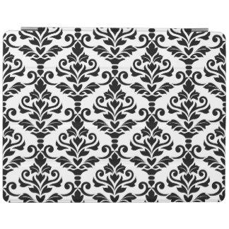 Cresta Damask Big Pattern Black on White iPad Cover