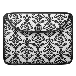 Cresta Damask Big Pattern Black on White Sleeve For MacBook Pro