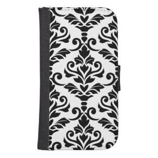 Cresta Damask Large Pattern Black on White Samsung S4 Wallet Case