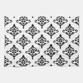 Cresta Damask Pattern (B) Black Hand Towels