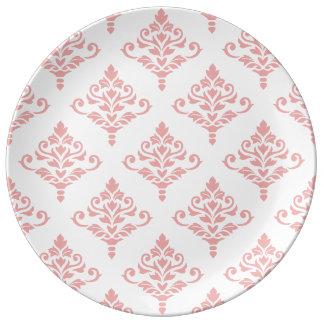Cresta Damask Pattern (B) Pink Plate
